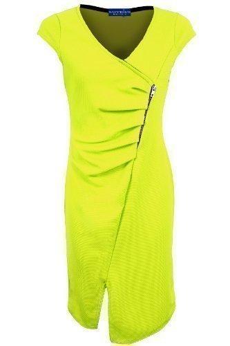 Saphir Femmes Enveloppant Col V Mancheron Texturé Froncé Mesdames Bodycon Split Robe Vert