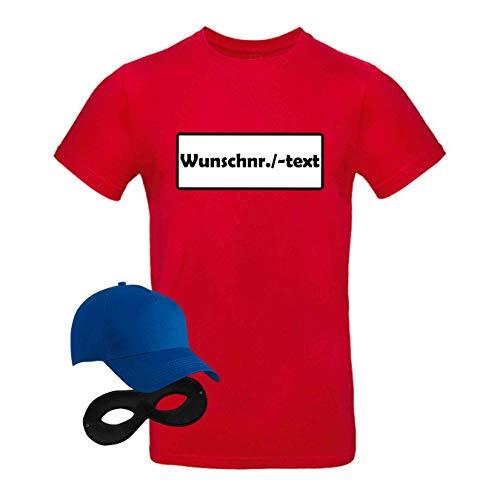 T-Shirt Panzerknacker Kostüm-Set Wunschnummer Cap Maske Karneval Herren XS - 5XL Fasching JGA Party Sitzung, Größe:L, Logo & Set:Wunsch-Nr./Set Klassik (Wunsch-Nr. o. -Text/Shirt+Cap+Maske)