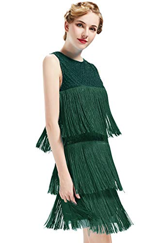 Kostüm Tanz 80's Motto - ArtiDeco 1920s Charleston Kleid Damen Knielang Cocotail Party Kleid 20er Jahre Flapper Damen Gatsby Kostüm Kleid (Dunkel Grün, M / UK12-14 / EU 40-42)