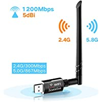 Wifi Adapter 1200Mbps Dual Band (5G/867Mbps + 2.4G/300Mbps), SoataSoa USB 3.0 Wifi Dongle with 5dBi Antenna Wireless Network Adapter for PC /Desktop/Laptop/Tablet,Dual Band 2.4G/5G 867 ac,Support Windows 10/8.1/8/7/XP/Vista MAC OS