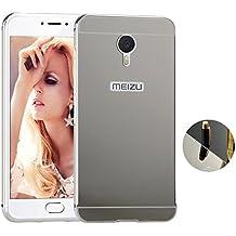 Funda Espejo Aluminio Metal Carcasa para Meizu M3S Color Plata