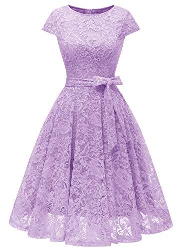 MuaDress 6008 Cocktailkleid Knielang Cape Ärmel Spitzen Brautjungfernkleid Floral Elegant Lavender M