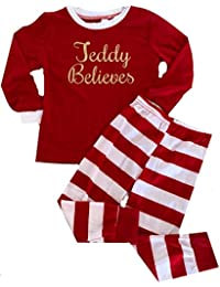 Personalised Girls   Boys Believes Christmas Red and White Striped Pyjama  Set 5c01ddfc1