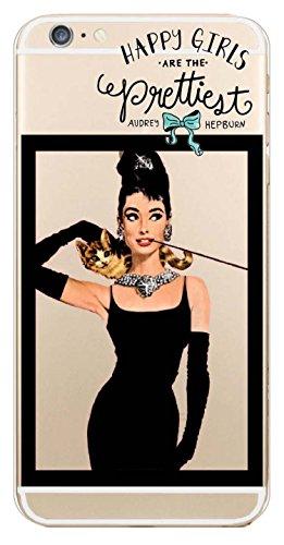 """iPhone 6 Hülle, JAMMYLIZARD Transparentes Sketch Back Cover aus Silikon mit Muster für iPhone 6 / 6s 4.7"""", KRATZENDE KATZE Audrey Hepburn"""
