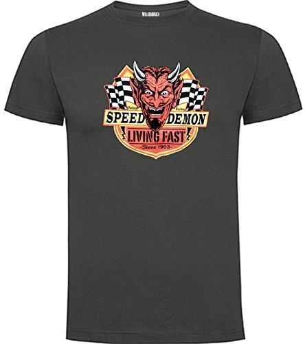 Wolkenbruch® T-Shirt Herren Vintage Racing Living Fast Speed Damon vers. Farben Gr. S bis XXL Graphitgrau