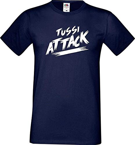 Shirtinstyle Männer T-Shirt Tussi Attack,Navy, XXXL