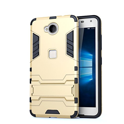 EKINHUI Case Cover 2 in 1 neue rüstung harter stil hybrid dual layer 'verteidiger pc - hard - fall stehen [stoßfeste fall] für nokia - microsoft lumia 650 ( Color : Blue Black , Size : Nokia Lumia 650 Gold