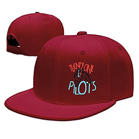Feruch 21-Pilots Sunbonnet Baseball Hat Hip Hop Hat Adjustable Snapback Flat Bill White Red