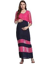 Mine4nine Women's Blue and Pink Lace Maternity Maxi Dress