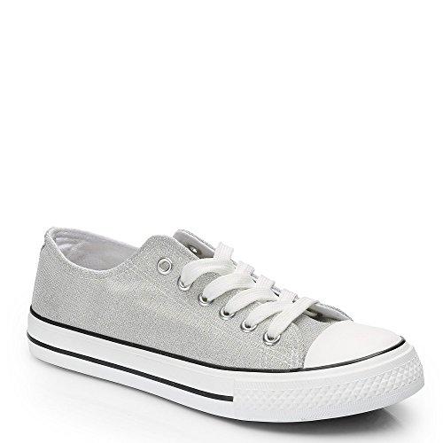 Ideal Shoes Jale Sneaker, niedrig, Glitzer Silber