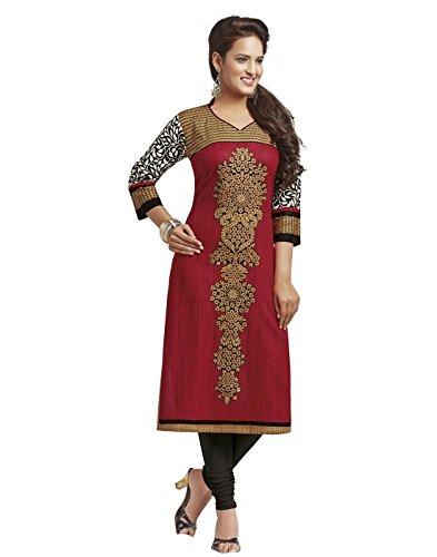 Jevi Prints Women's Dress Material (Saheli-1225_Red_Free Size)