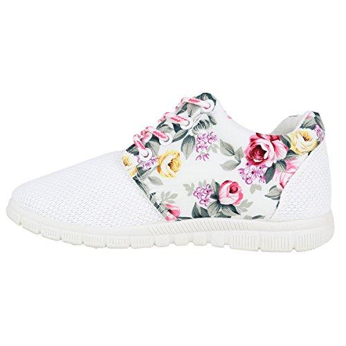 Damen Sportschuhe Muster  Laufschuhe Runners   Sneakers Schuhe Strass Metallic Weiss Pink Blumen