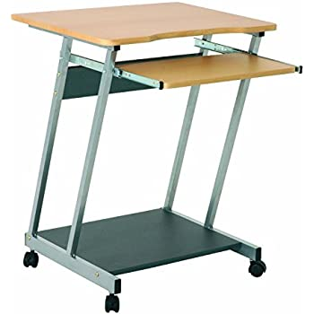 OFFICE Beech And Steel Computer PC Desk Table Trolley With Movable Surface  And Castors Wheels