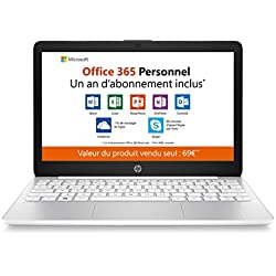 HP - Stream 11-ak0001nf - PC Portable - 11.6'' HD SVA - Blanc (Intel Celeron N4000, RAM 4 Go, eMMC 32 Go, Intel UHD 600, Windows 10 mode S) + AZERTY