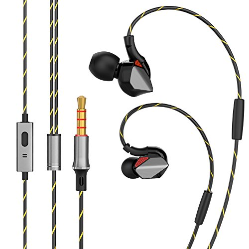 Auricolari sportivi con filo auricolari con isolamento acustico microfono e gancio per l' orecchio Sweatproof Runing allenamento auricolari per iPhone Sony Samsung iPad iPod Android Smartphone