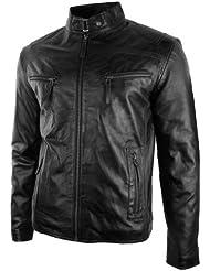 Blouson homme cuir véritable style biker vintage cintré noir marron poches zippées look décontracté