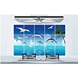 Nouveau Nom 3D Autocollant Bricolage Dolphin Ocean Oil-proof Cuisine Stickers Muraux For La Cuisine Carreaux Affiches Nautical Decor Stickers Muraux 45x75cm
