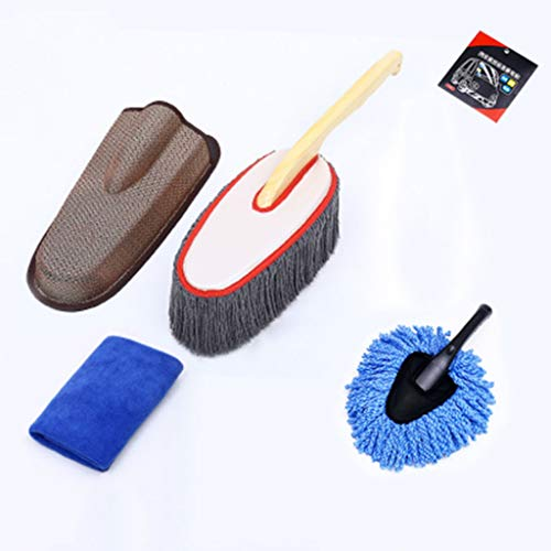 Autowaschmopp weiche Baumwollfadenbürste, geeignet für Autostaubentfernung, Reinigung, Haushalt, Holzgriff (kleine Bürste, Speicherabdeckung, elektrostatische Aufkleber, saugfähiges Tuch, Schwamm, Sch
