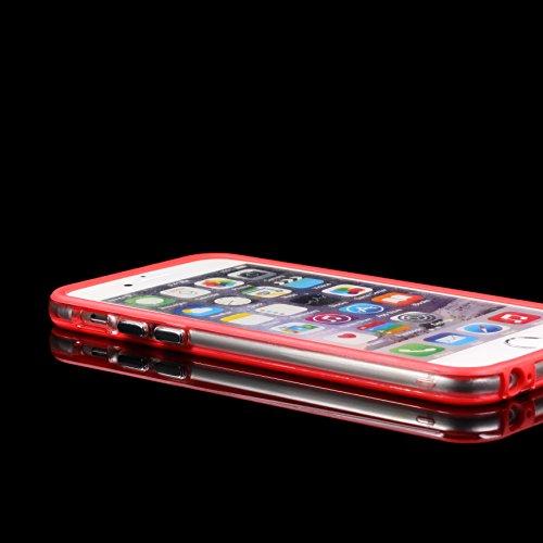 iPhone 6 / 6s Housse, Urcover Coque Transparent [Bumper Orange] Silicone TPU Étui de Protection Apple iPhone 6 / 6s Antichoc Case Téléphone Rouge