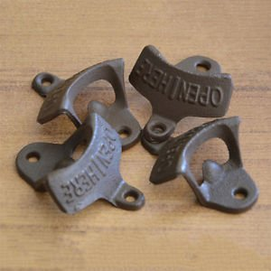 MG Universal Open Here Cast Iron Cool Wall Mount Bottle Opener Western Rustic Brown Fashion Wall Mount Bottle Opener