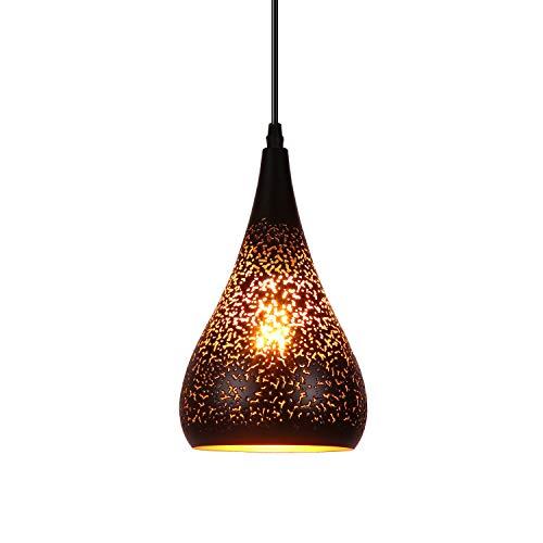 Maxmer Lámpara de Techo Luz Vintage Colgante Industrial Estilo Nórdico, Color Negro