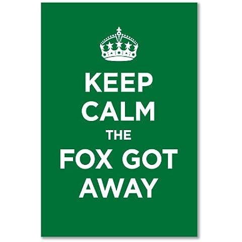 Confezione di Adesivi in Vinile lucido: Keep Calm Fox Got Away Verde Smeraldo erba WW2WWII parodia cartello (1adesivo, 22,5x 15cm/8,9x 5.9in) - Got Erba