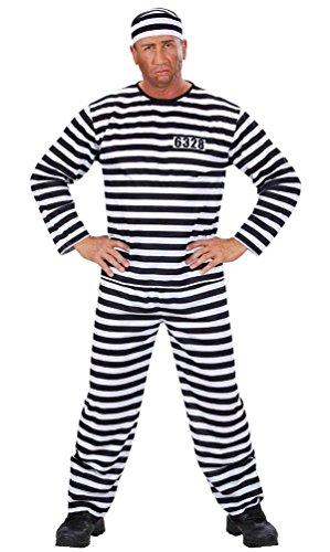 ,Karneval Klamotten' Kostüm Sträfling Knast Häftling Gefangener Sträflingskostüm Herren-Kostüm inkl. Oberteil, Hose, Mütze + Sträflingskette Gr. 48