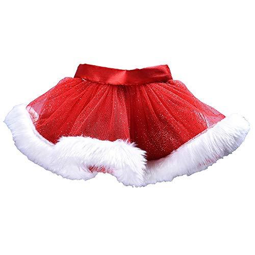 bobo4818 Baby Mädchen Kinder Weihnachten Tutu Ballett Röcke Phantasie Party Rock + Hair Hoop Set (Rot, 6-7 Years)
