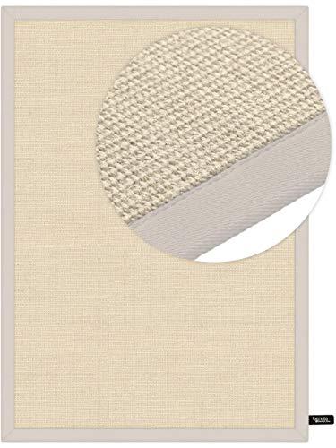 benuta Sisal Teppich mit Bordüre Cream 80x150 cm | Naturfaserteppich für Flur und Wohnzimmer