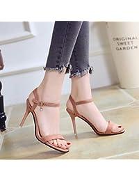 Yukun zapatos de tacón alto Summer Word Buckle Stiletto Sandals Women s  Black Heels Fashion Open Toe b396868fbb43