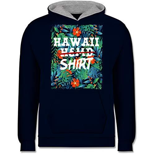 Karneval & Fasching Kinder - Hawaii Hemd Shirt - 7-8 Jahre (128) - Navy Blau/Grau meliert - JH003K - Kinder Kontrast Hoodie