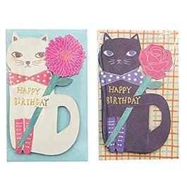 Biglietti D'Auguri Messaggio Con Busta 2 Set Creatività Simpatico Gatto E Fiori Kawaii Bambini Carte Regalo Di Compleanno (Nero + Bianco)