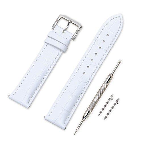 VINBAND Unisex Leder Uhrenarmband mit Edelstahl Silberne Schnalle 18mm Weiß