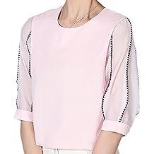 erdbeerloft - Damen Chiffonartige Bluse mit transparenten Armen , XS-2XL, Viele  Farben