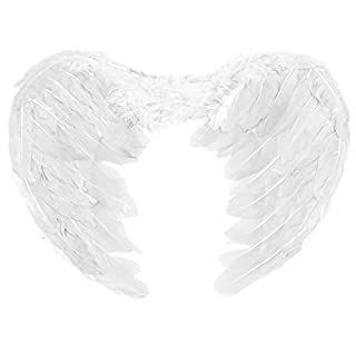 Adult Large Feathered Fancy Dress Angel Fairy Cherub Wings (White)