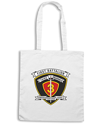 T-Shirtshock - Borsa Shopping TM0299 1st Battalion 3rd Marine Regiment USMC usa Bianco
