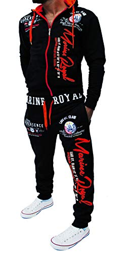 Yalvis Herren Trainingsanzug Jogginganzug Sportanzug Streetwear Jogger Hausanzug Marine Royal (Schwarz-rot, XXXXXXL (fällt aus: 5XL)) -