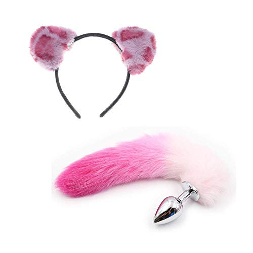 ꕤ Plush Cat Ear Headband with Bowknot & Taịl Set Toys