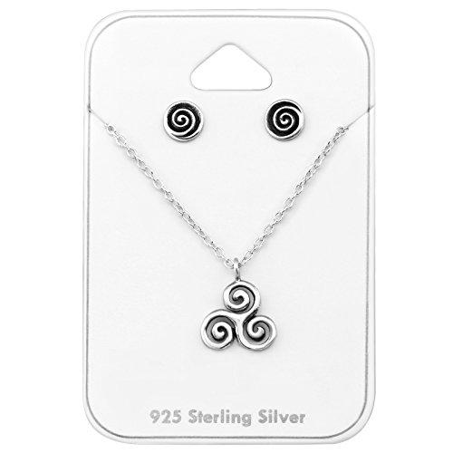 Tata Gisele© juego de collar y pendientes (plata 925/000envejecido–celta triskel Tribal