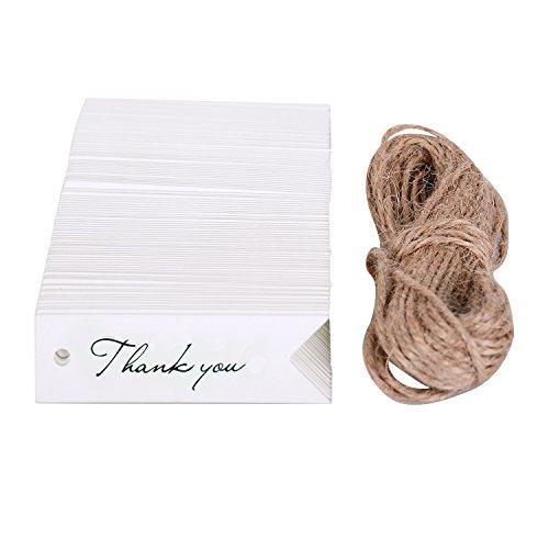 WOLFTEETH Etichetta da regalo 100 pz bigliettino carta kraft Targhette per bomboniere confetti Matrimonio Segnalibri - Thank you, bianca