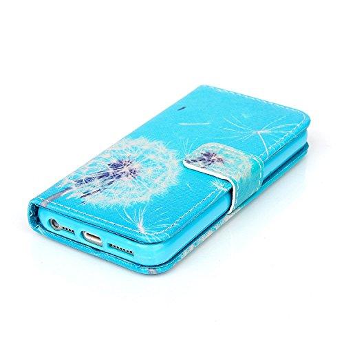 Coque pour Apple iphone SE 5 5S,Housse en cuir pour Apple iphone SE 5 5S,Ecoway Colorful imprimé étui en cuir PU Cuir Flip Magnétique Portefeuille Etui Housse de Protection Coque Étui Case Cover avec  B-12