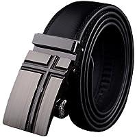 Panegy - Cinturón Clásico de Cuero Piel con Hebilla Automática Para Hombres - Negro - 105cm