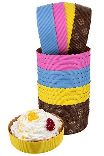 Petani Mini-Tartpfanne, 25 Mini-Pie-Pfformen, Braun für kleine Torten Kuchen, 4x1 Größe Einweg-Backformen von Petani mehrfarbig - Cupcake Kleine Pan