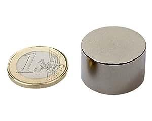 Aimant Disque Ø 25 x 15mm Néodyme N50, Nickelé - force 27 kg