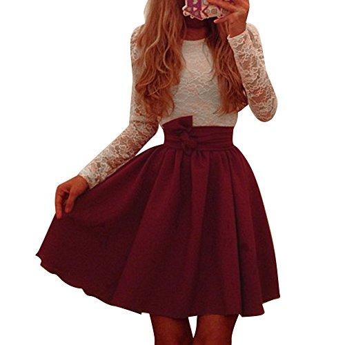 Pinkyee Damen Kleid Gr. M, Rot - Weinrot