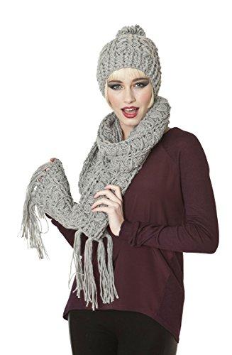 Socks Uwear Ensemble bonnet d'hiver de mode en tricot bonnet et écharpe pour femme Maude gris
