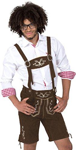 Almwerk Herren Trachten Lederhose kurz Modell Hipster, Farbe:Braun;Lederhose Größe Herren:56
