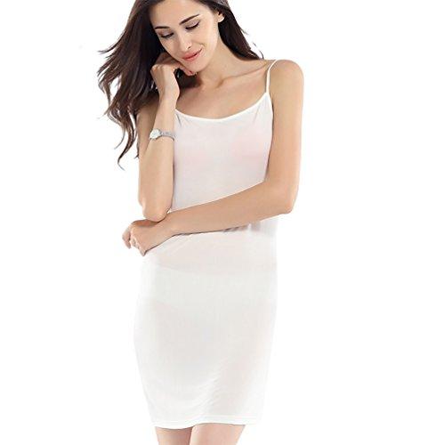Baymate Damen Underwear Knielanges Unterkleid Klassische Hemdrock Unterrock Weiß