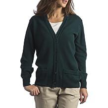Great and British Knitwear - Rebeca de lana con cuello pico y bolsillos, para mujer