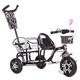 JHGK Triciclo per Bambini, Triciclo Push, Passeggino per Bambini in Acciaio Ad Alto Tenore di Carbonio, Bicicletta A Doppio Pedale per Triciclo, Passeggino Gemello per Bambini Tricycle,Nero